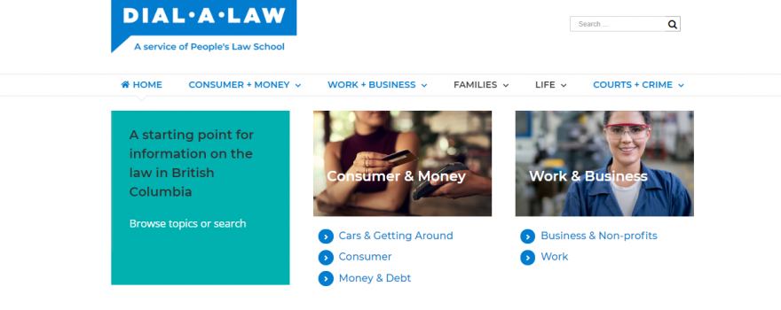 A screenshot of Dial-A-Law's homepage