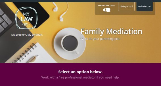 Screenshot of MyLawBC Family Resolution Centre