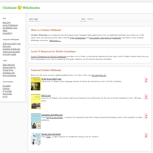 A screenshot of the Clicklaw Wikibooks homepage