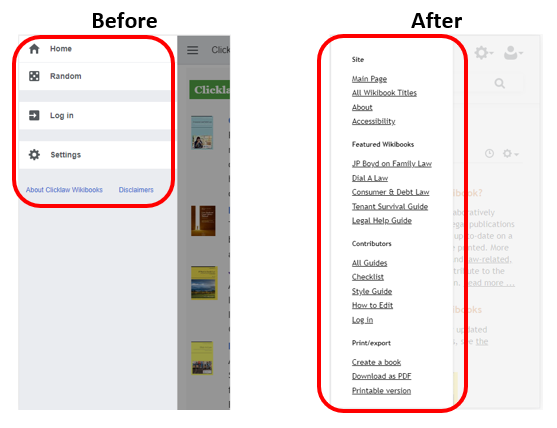 Before-and-after screenshots of the hamburger menu