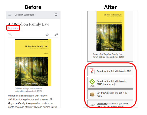 Before-and-after screenshots of a wikibook's main page