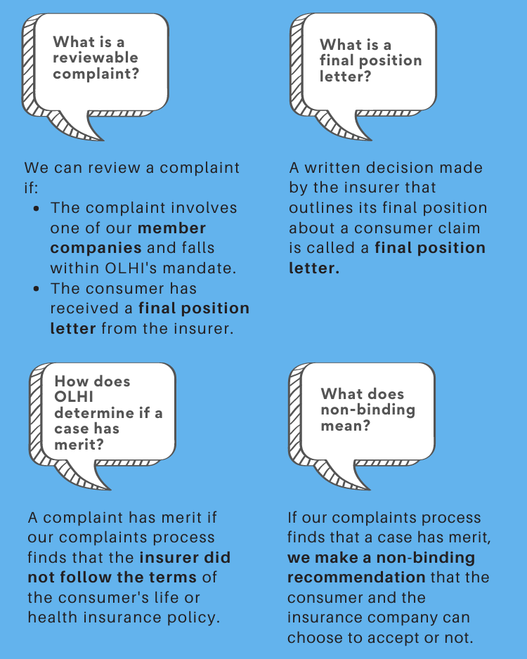 An image  showing Common questions about OLHI's alternative dispute resolution service